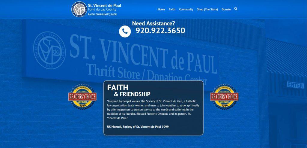 New St. Vincent de Paul website Fond du Lac, WI 54935.