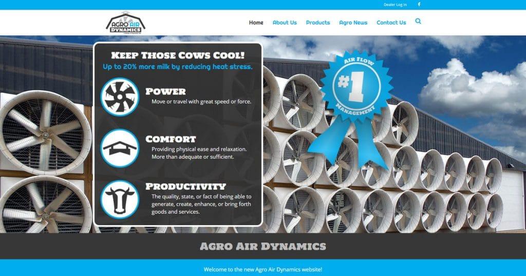 New Agro Air Dynamics website Fond du Lac, WI 54935.